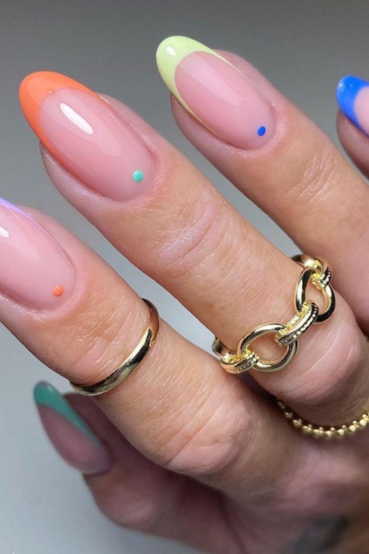 rainbow nails short easy
