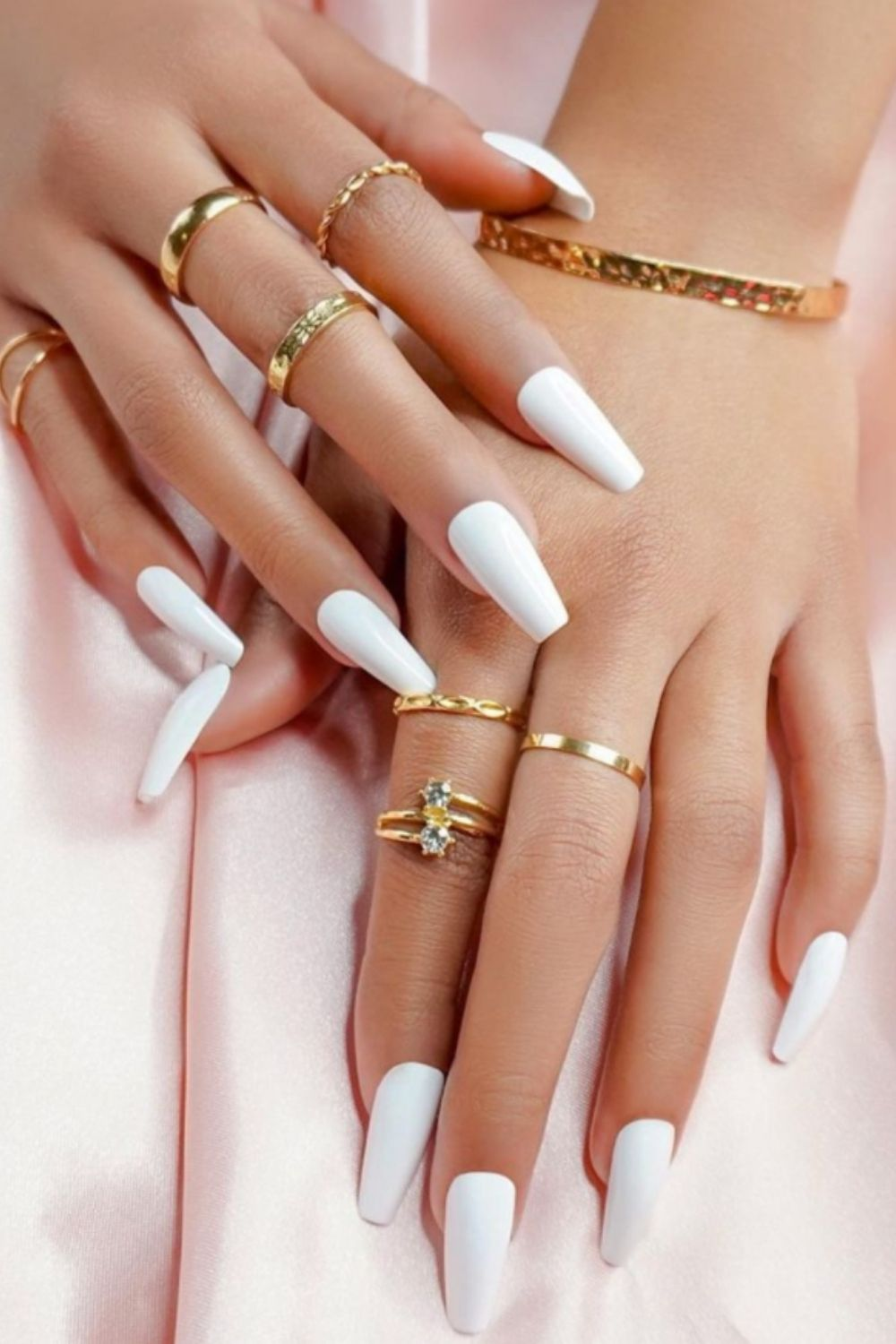 white coffin nails design  for woman