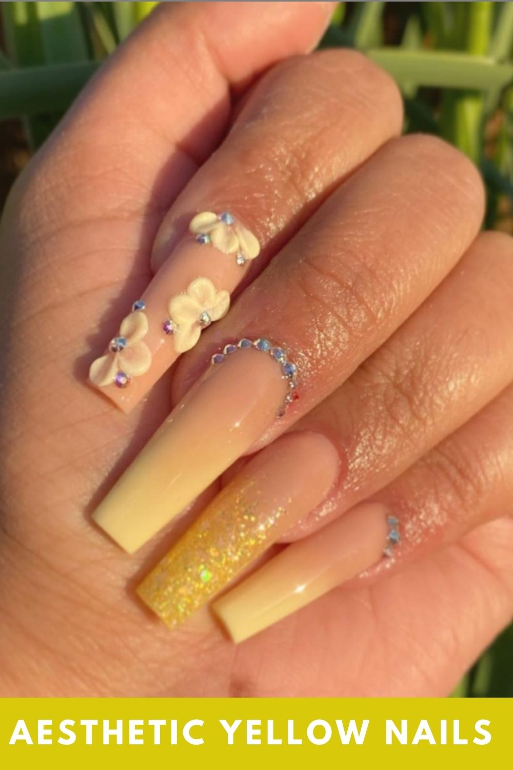 Sweet yellow coffin nails