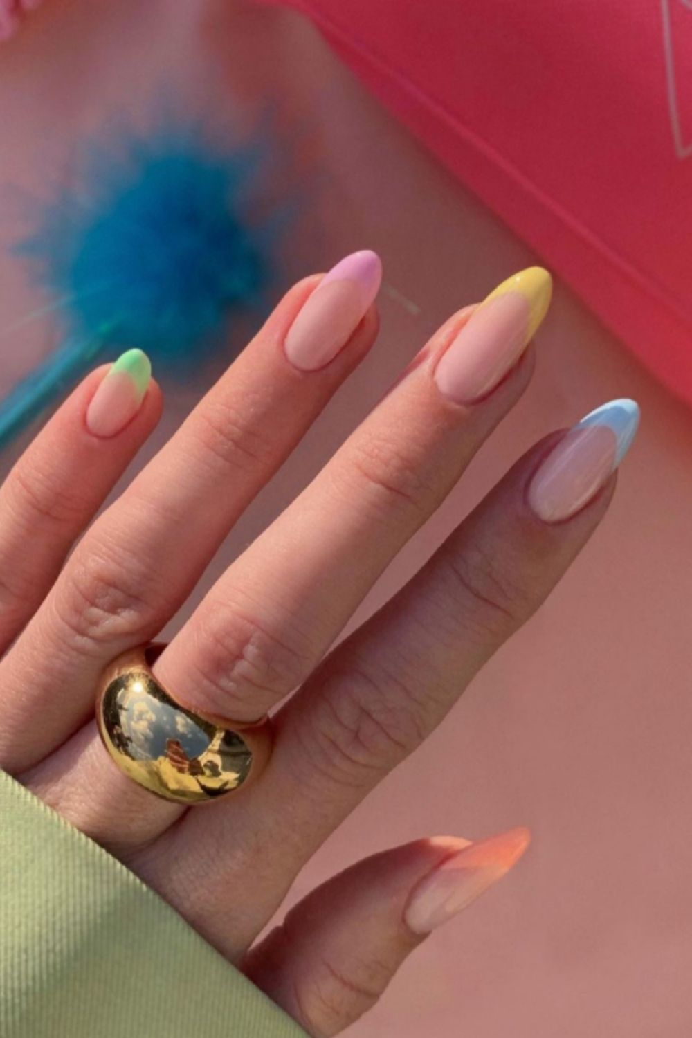 rainbow nails short easy