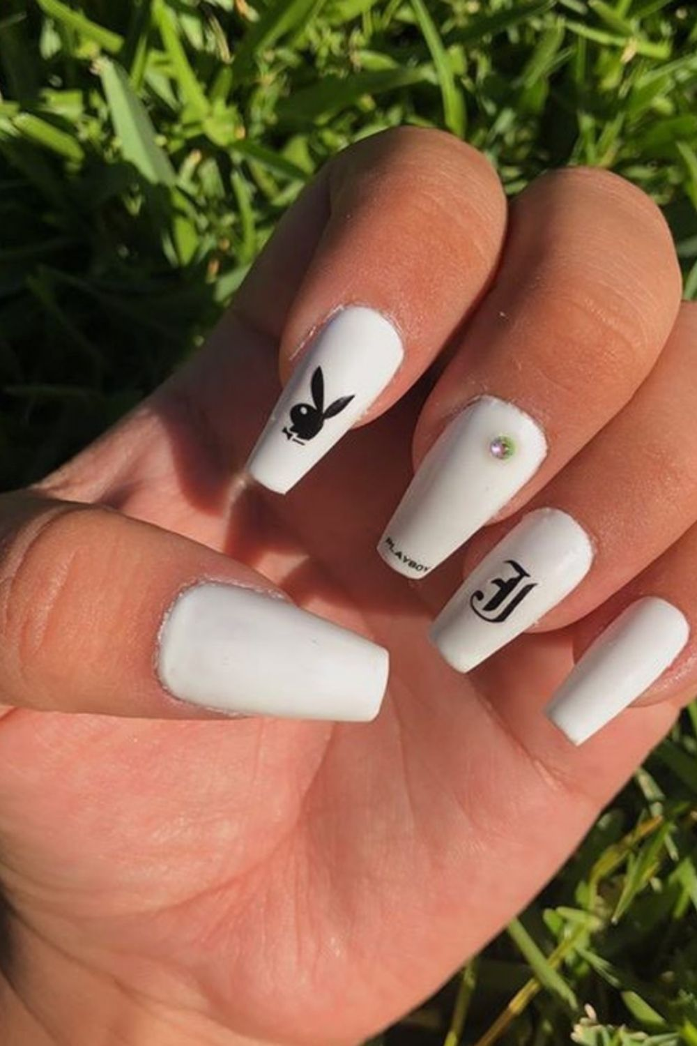 white acrylic nails with design coffin