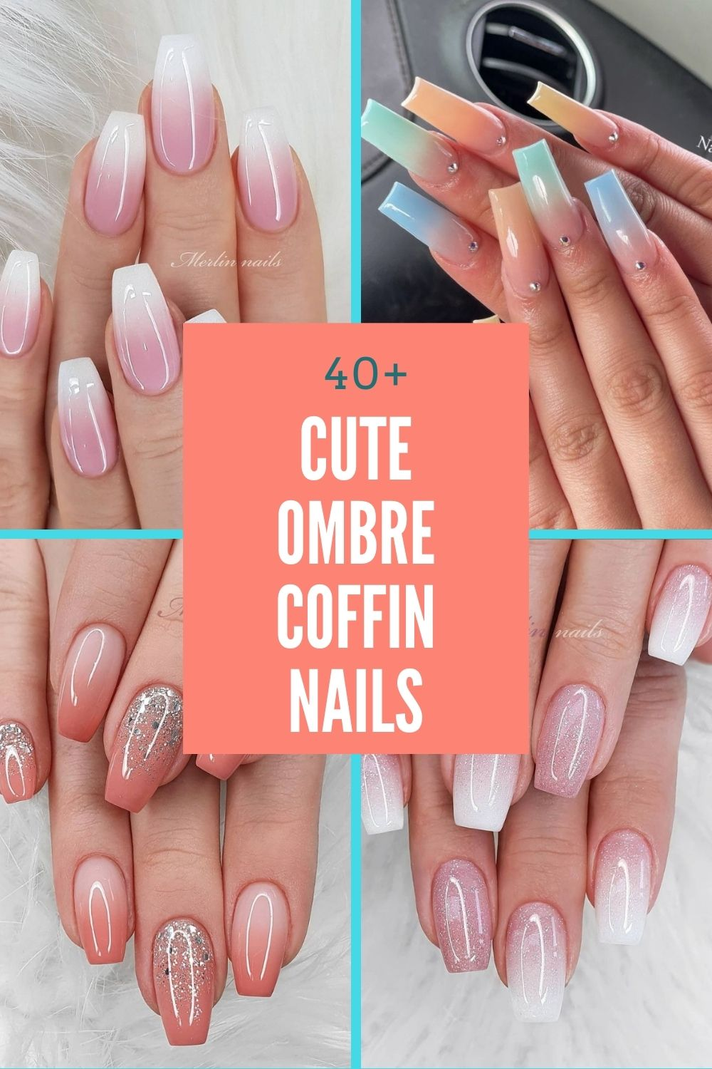 40+Cute Ombre coffin nails for young girls