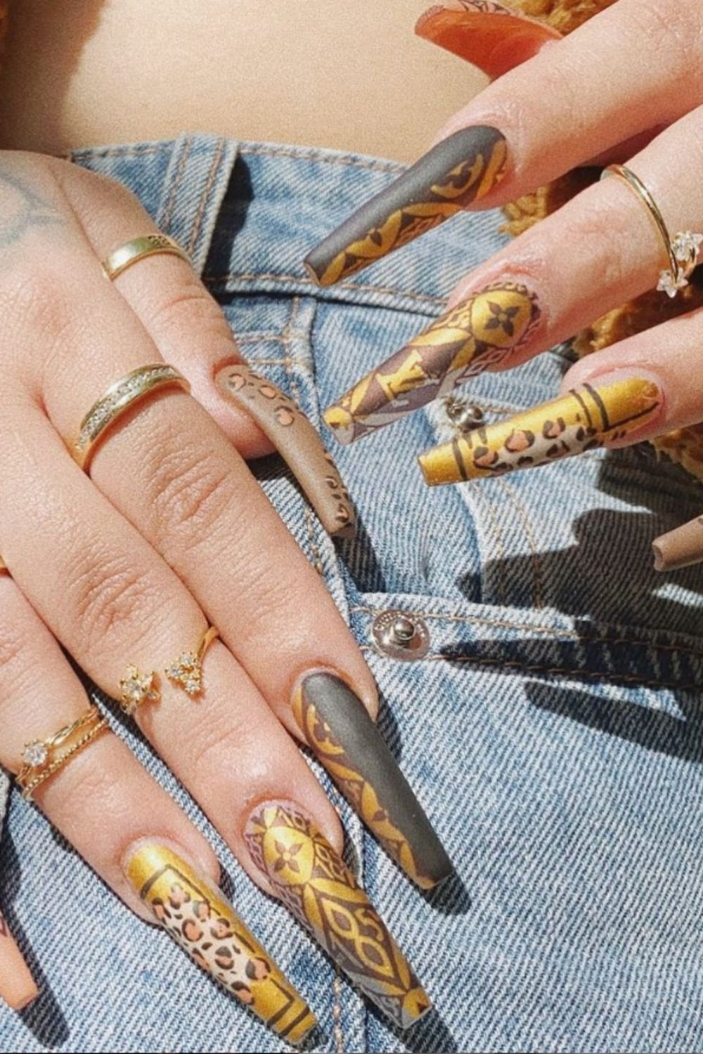 Coffin fall nails   35 gorgeous coffin shape nails design