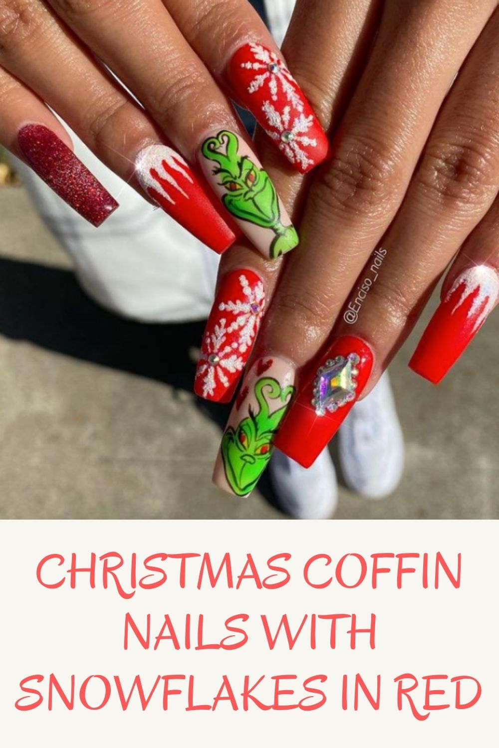 Christmas coffin nails with snowflakes